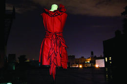 Archival scarlet circus dress by Desira Pesta
