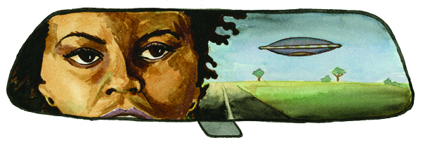 woman looking at ufo in rearview mirror illustration
