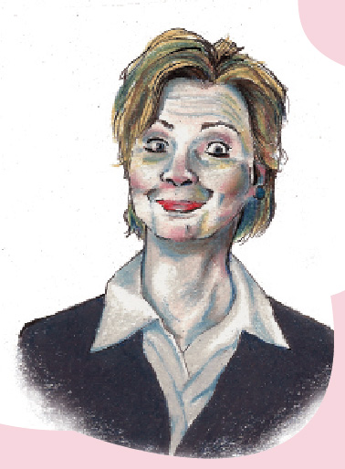 Illustration of Hilary Clinton by Tate Chow