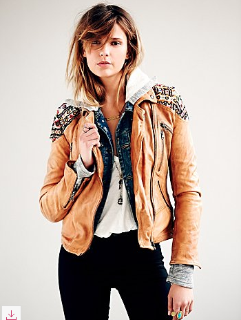 Free People Embellished Classic Biker Jacket