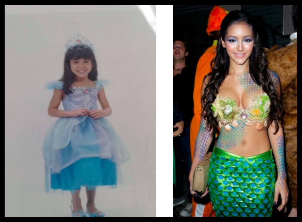 Childhood picture: Christina Scholl, Recreated look: Pinterest