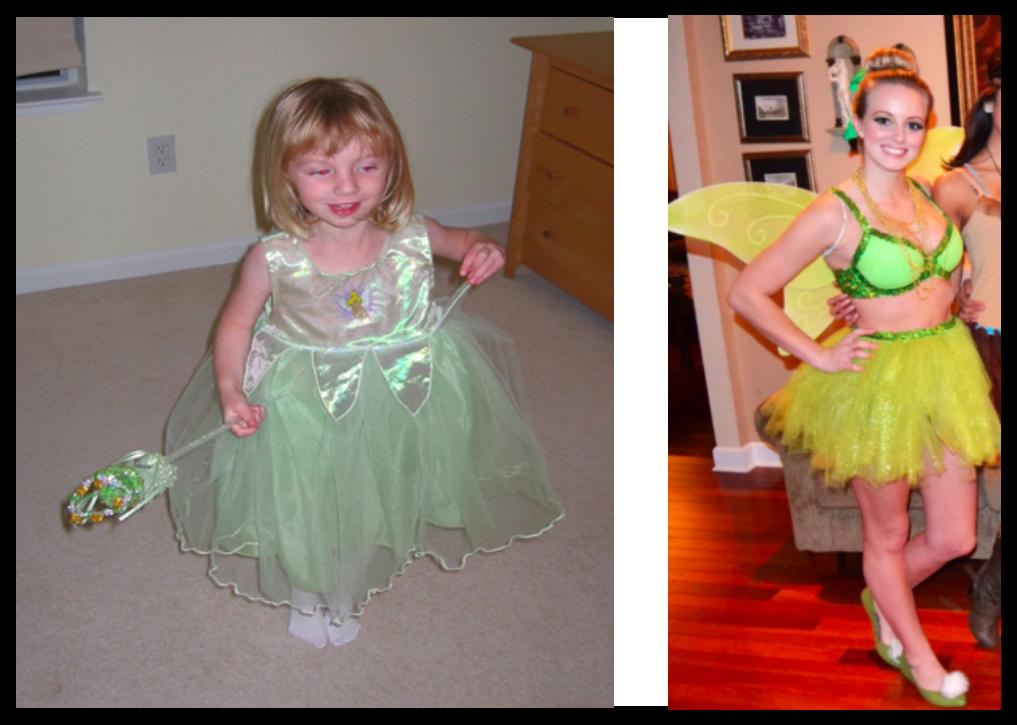 Childhood costume: Ariel Wodarcyk, Recreated look: Pinterest