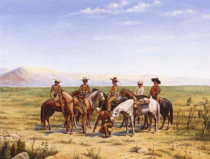 """""""Sobre la Huella"""" by Theodore Gentilz showing a Compañía Volante """"On the Trail"""""""
