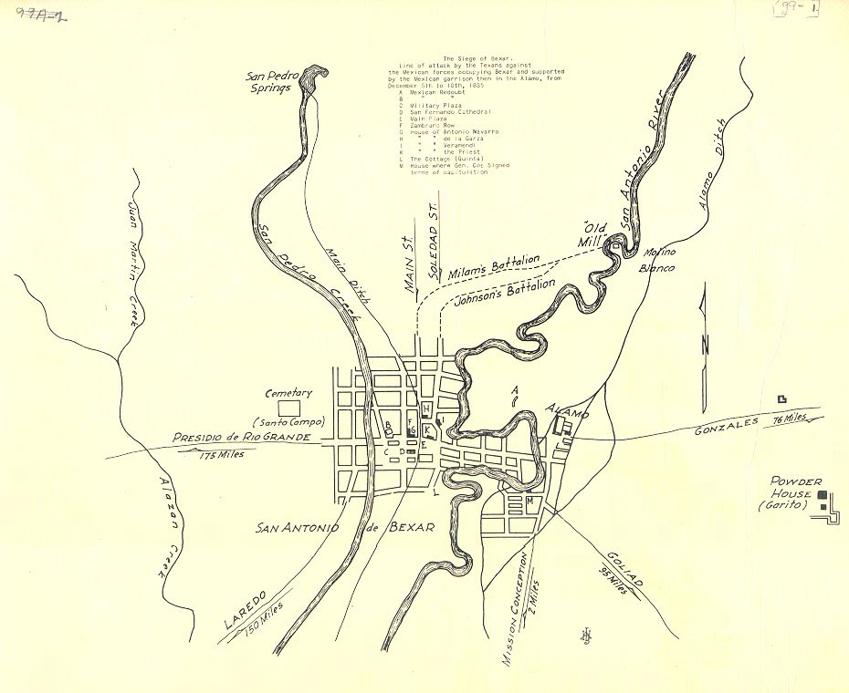 Map of the Siege of Bexar