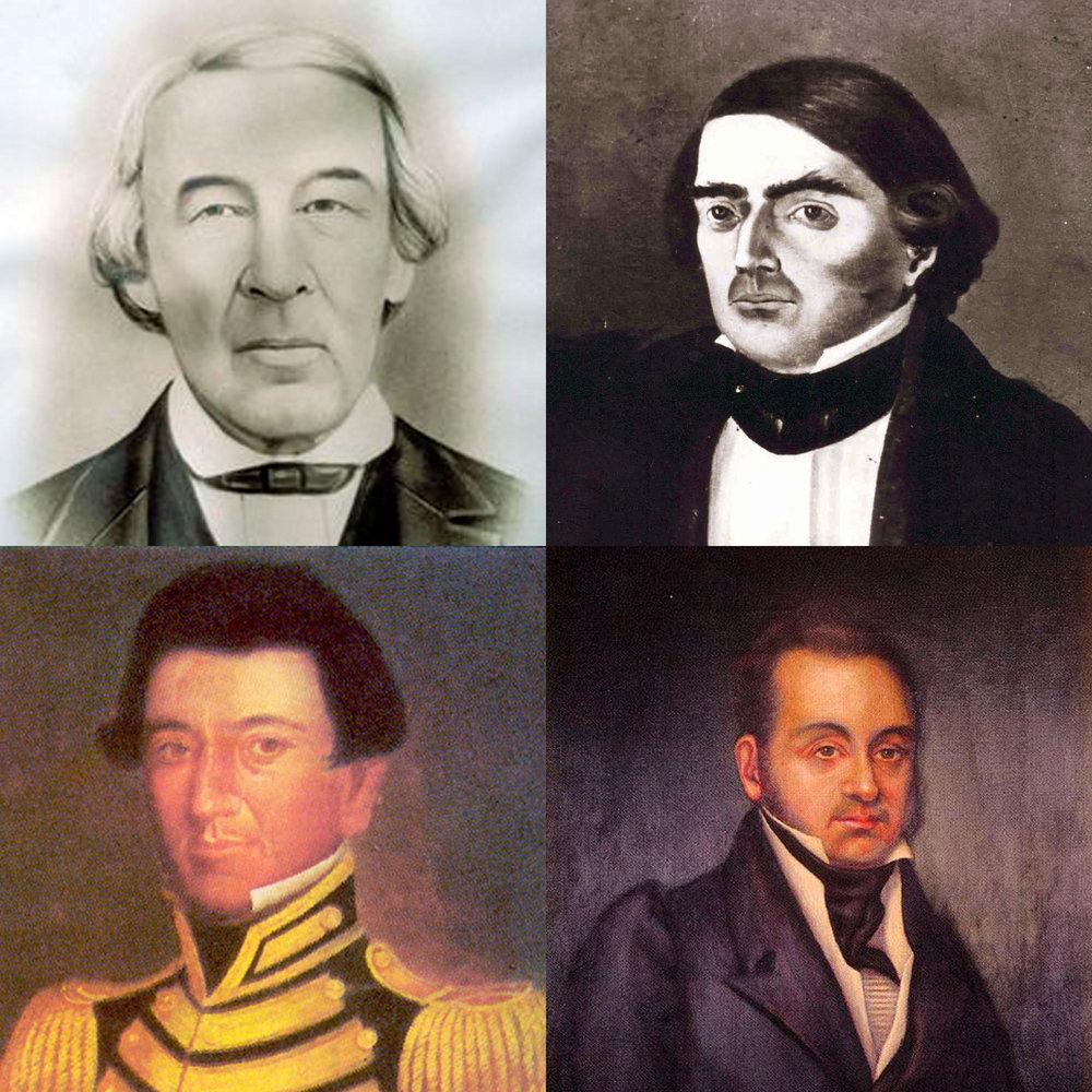 Clockwise from top left: José Antonio Navarro, José Francisco Ruíz, Lorenzo De Zavala, and Juan Seguín