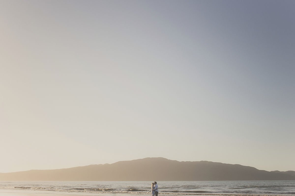Evening engagement session at the Beach on the Kapiti Coast