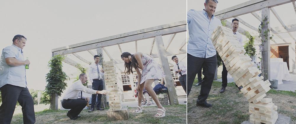 Giant Jenga game at a wedding