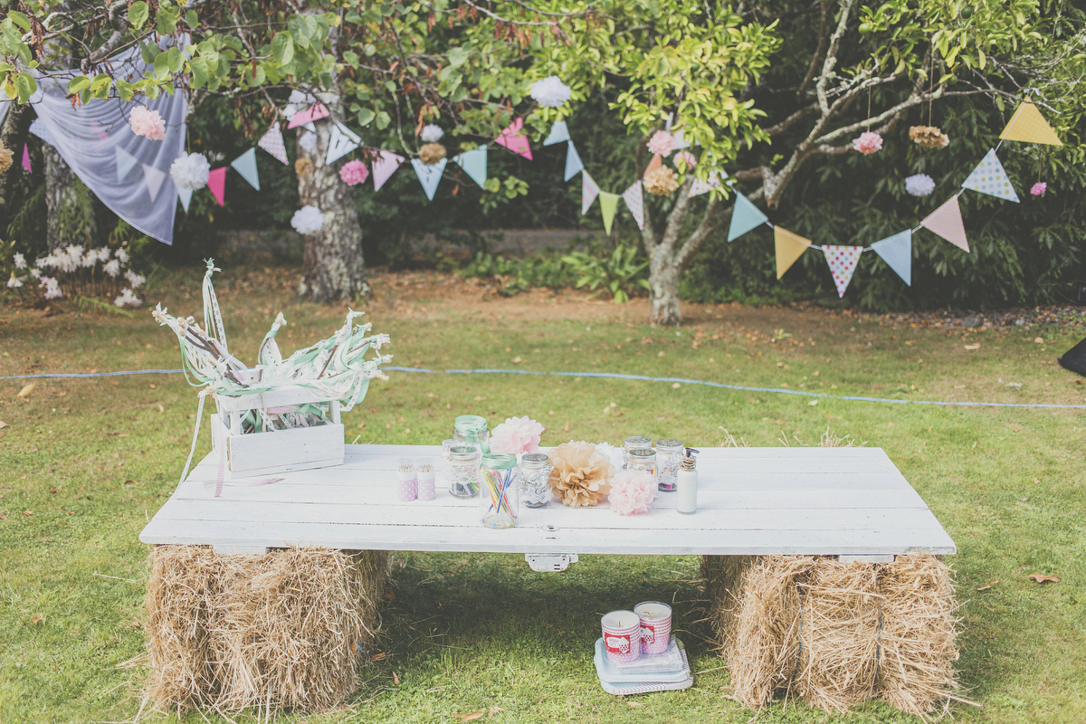 Kids craft station at a wedding in New Zealand