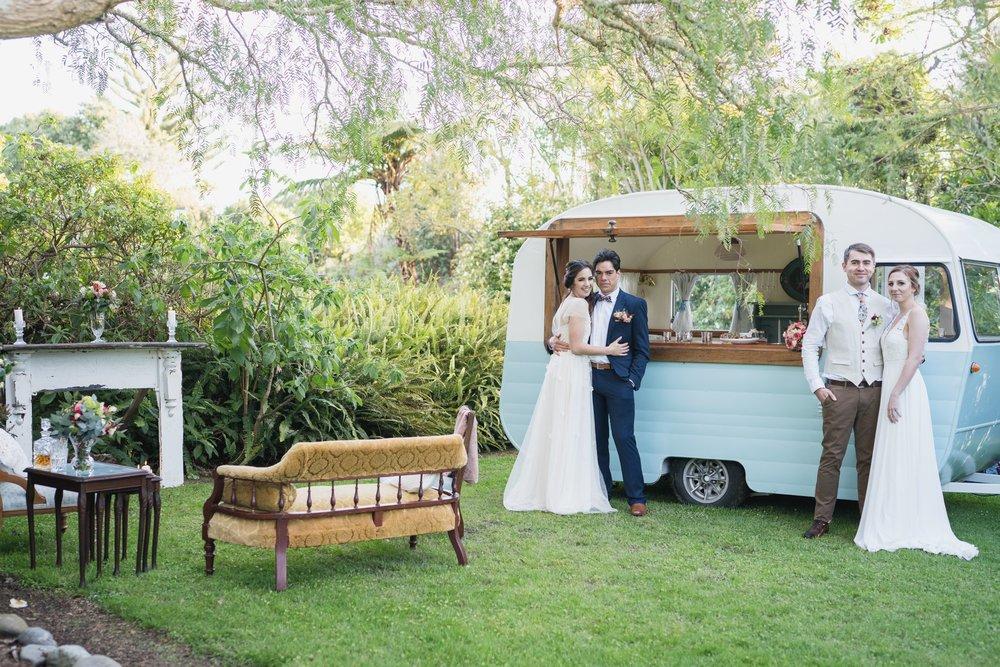 Wedding couples with Sadie Swoon vintage caravan