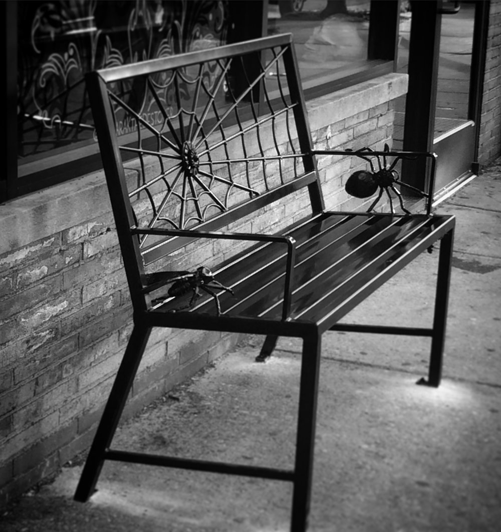 BENCH WITH FORGED WEB, SPIDER, & FLY - Talking Headz, Baltimore Ave. Philadelphia PA