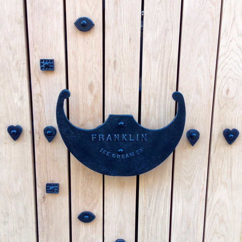 OAK PANEL GATE WITH FORGED RIVETS (detail)