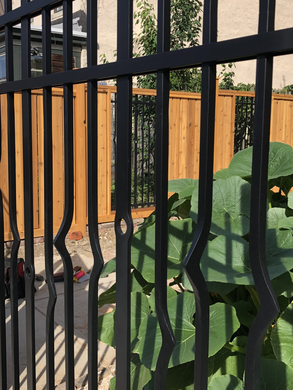 FORGED IRON FENCE WITH CEDAR DRIVEWAY GATE (detail)