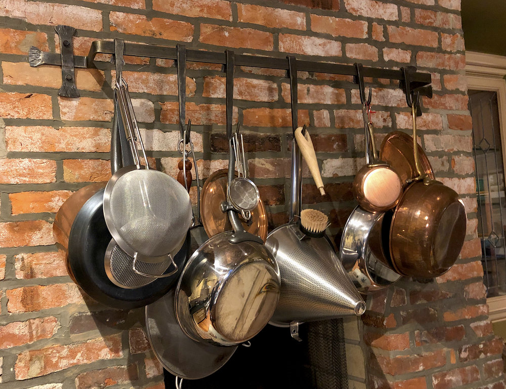 WALL-MOUNTED POT RACK - custom commission