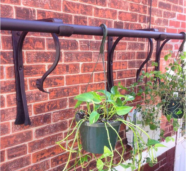 HANGING PLANT RACK WITH FORGED ELEMENTS - private residence, 51st St, Philadelphia