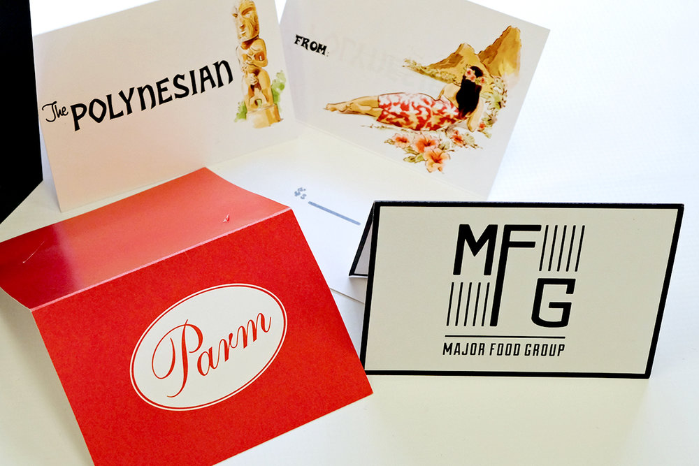 Custom folded gift card holders for Major Food Group—Parm, The Polynesian