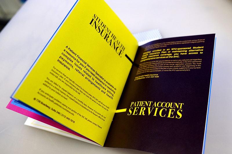 Unique Print NY - Digital Printing - NYU Student Health Center Booklet