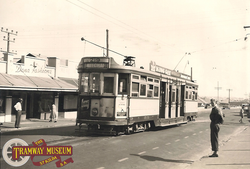 F type 'Drop Centre' tram 219 at the Prospect terminus at the intersection of Prospect Road and Irish Harp Road (now Regency Road), c.1954. The photo is taken looking north with the then new suburb of Kilburn in the background. Trams on the Prospect line ran through the City to the southern terminus of Mitcham.