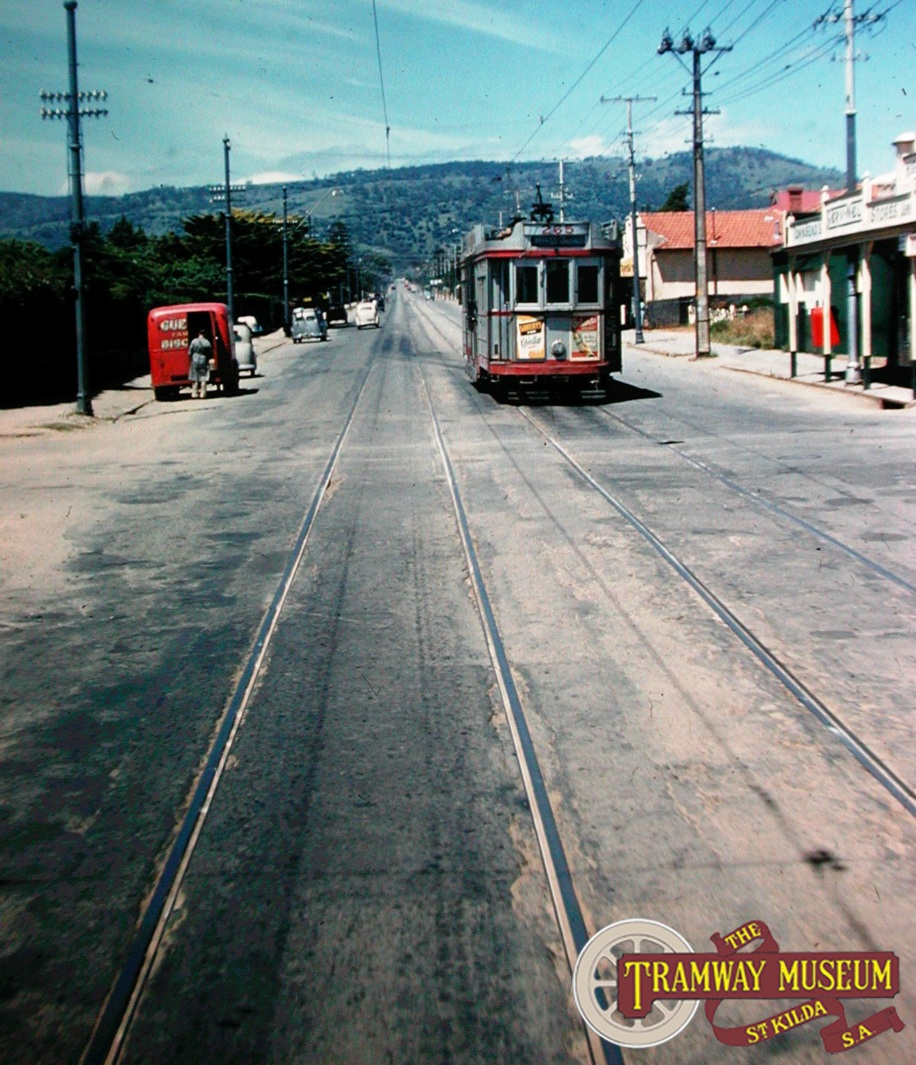 'Drop Centre' tram 265 can be seen from a Magill bound tram leaving the Tranmere crossover on Magill Road in the mid 1950s. As well as the main Magill line and the Morialta branch, 'short working' services were provided on this line with Maylands and Tranmere being alternative destinations. Photo: Keith Kings.