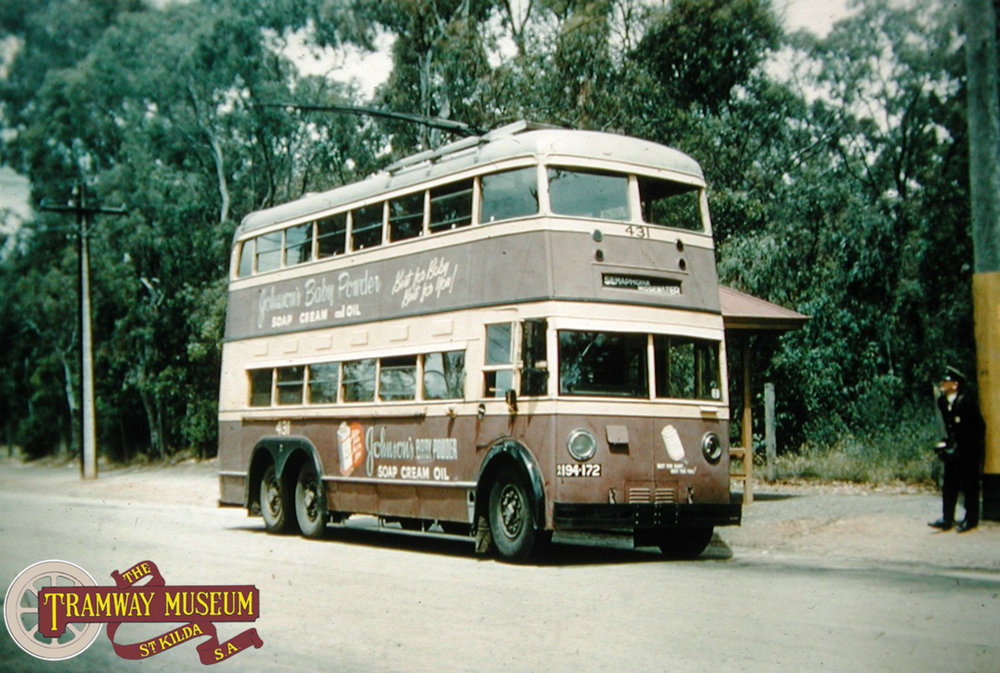 Five of the double deck trolley bus fleet were three axle units (the rest only had two axles). One of these buses is seen at the former tramway terminus at Erindale before returning to the City in November 1955. Photo: Keith Kings.