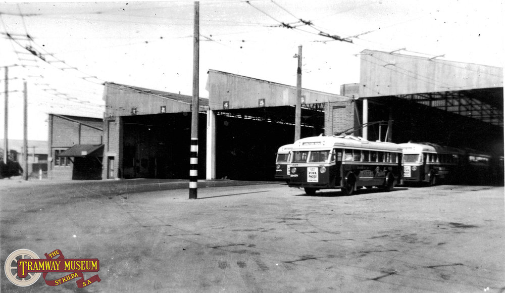 The Port Adelaide depot as it was in 1950, 15 years after it was converted from a tram depot to serve the growing trolley bus system, although rebuilt this depot is still in-use today as a bus depot                                                                                        Photo: Leo Rowe.