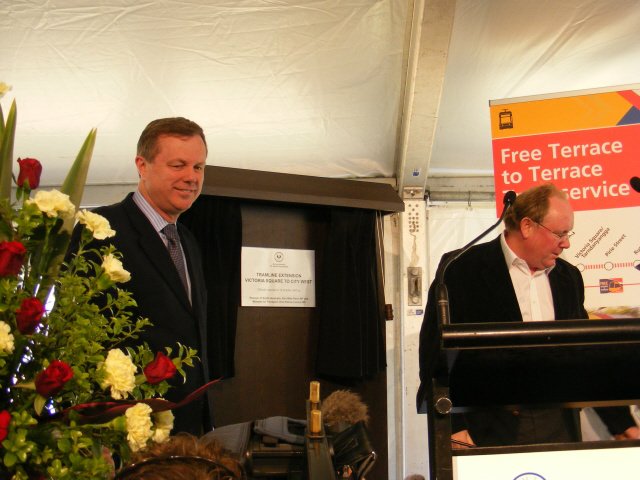 State Premier, the Hon. Mike Rann (left) and Transport Minister, the Hon. Patrick Conlon, at the opening of the tramway extension from Victoria Square to City West. October 2007.