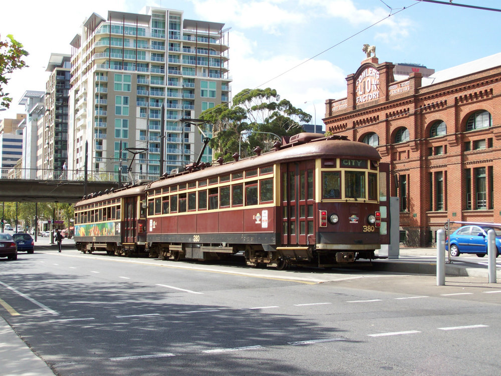 One of the weekend heritage services provided by the surviving H type fleet is seen at the former terminus at City West in the City, before running back to Glenelg in March 2009.