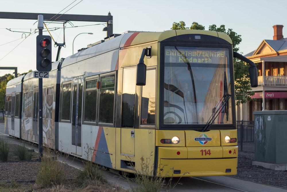 bombardier Flexity classic tram 114 arrives at the Entertainment Centre tram stop prior to starting the first ever botanic gardens tram service.