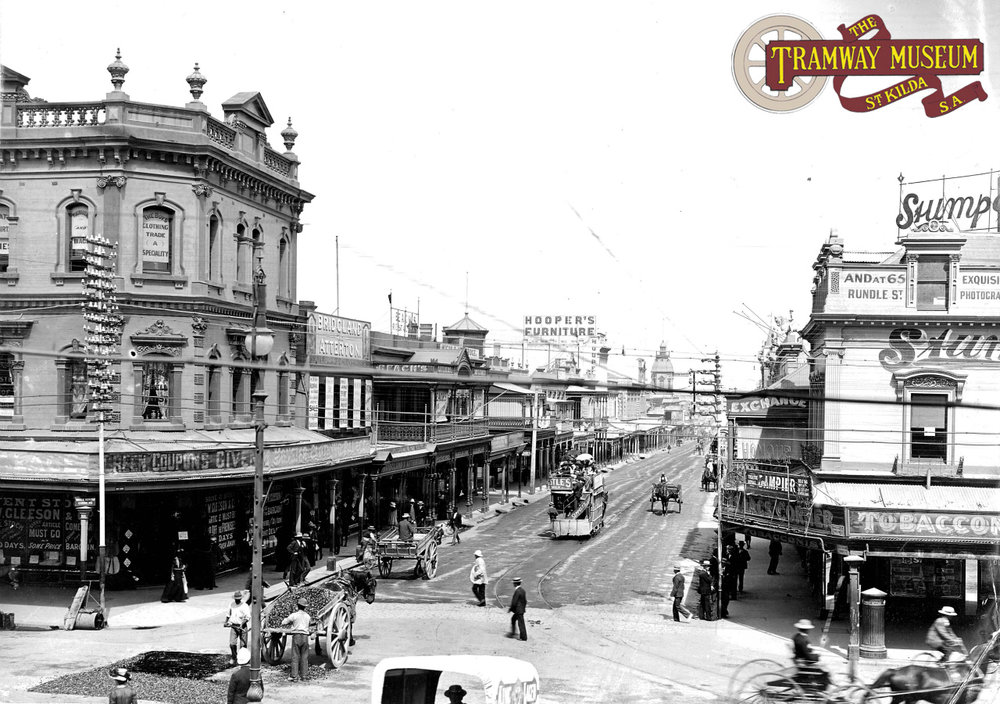 A horse tram bound for either Hindmarsh or Henley Beach is seen on Hindley Street having started its journey in King William Street in 1903. Six years later, the horse trams would have been replaced with electric trams.