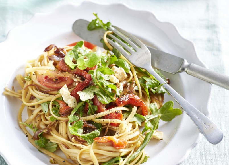 Caramelised Onion, Feta and Capsicum Pasta -