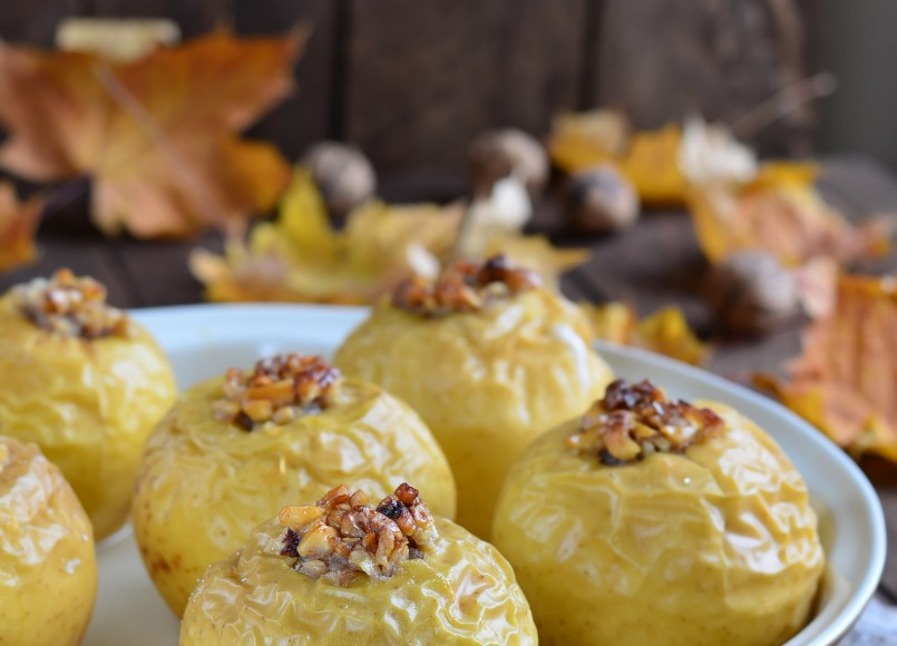 Baked Stuffed Apples with Salted Caramel Sauce -