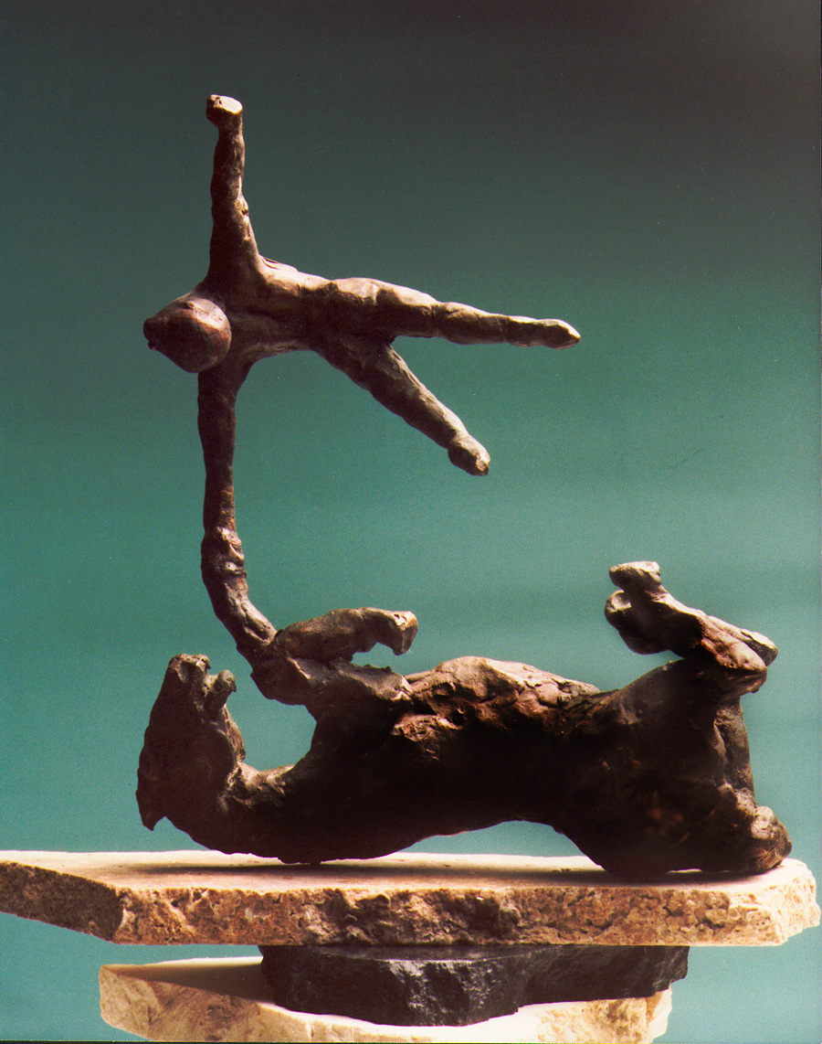 1981  horse and rider l  bronze 23cm high x 8cm deep x 18cm wide