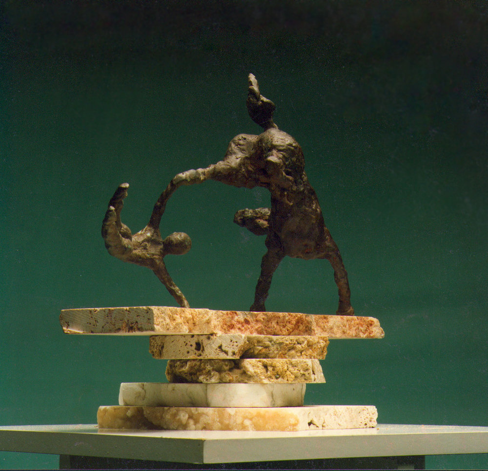 1985  horse and rider lll  bronze 18cm high x 10cm deep x 32cm wide