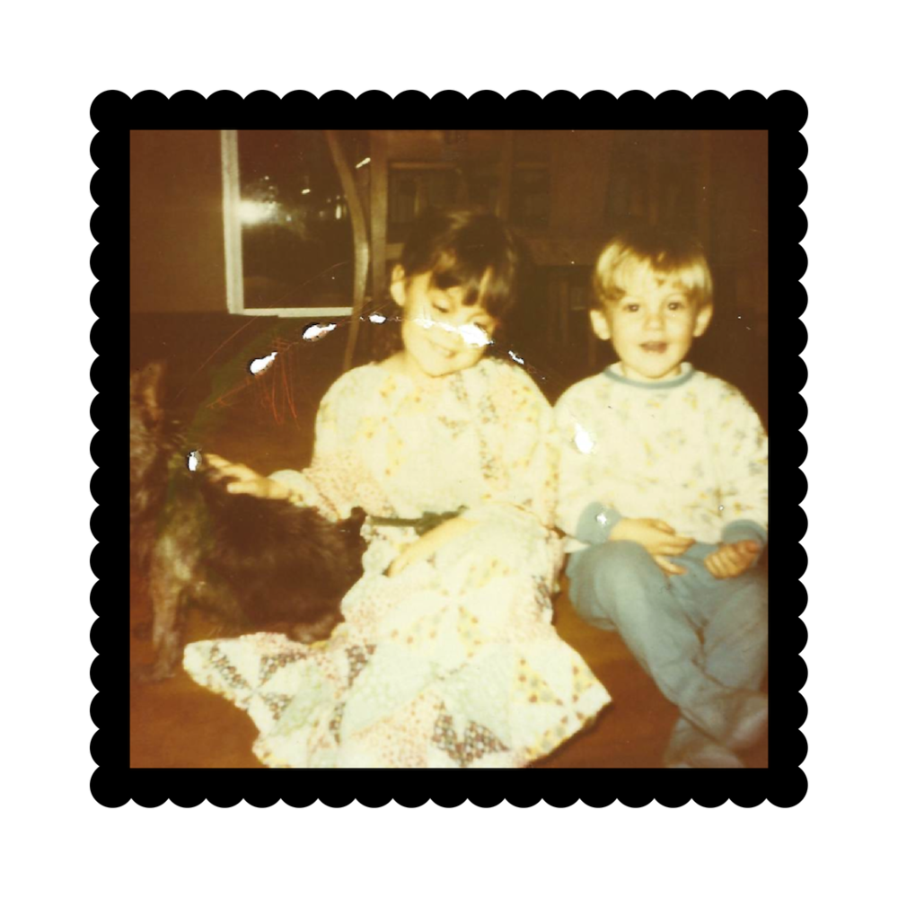 (  Picture 1  )  Me and my sister Jennifer in New Jersey, circa 1973, with our dog Ginger.