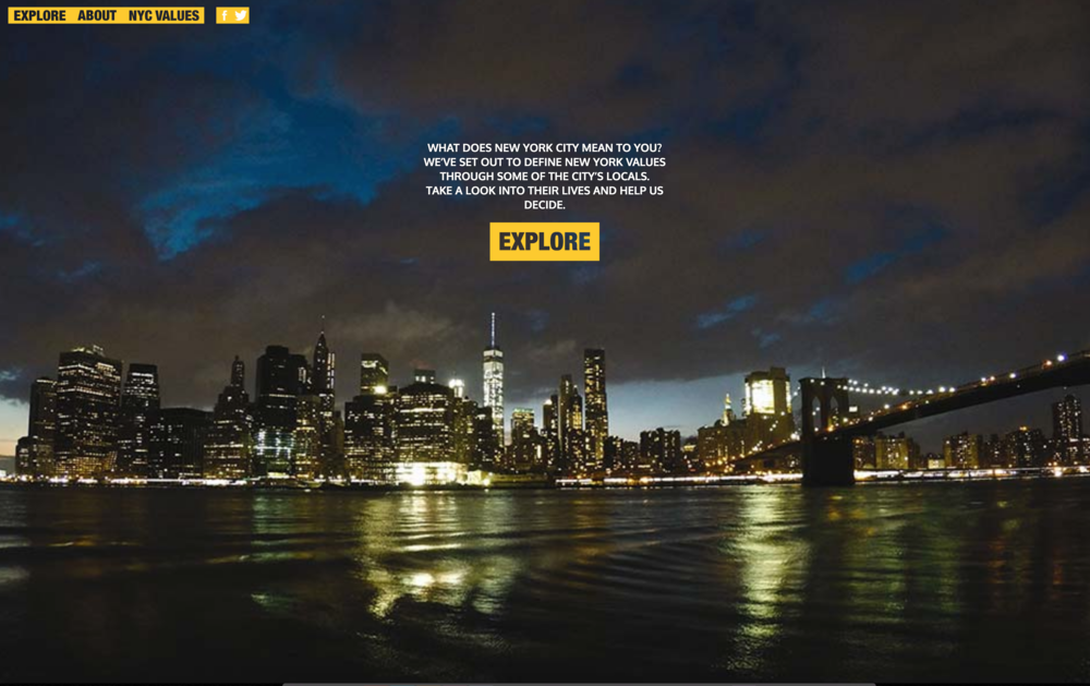 """NYC Values - (2016) NEW YORK UNIVERSITY Inspired by Ted Cruz's claim that Donald Trump has """"New York values,"""" the class set out to discover what defines NYC values through a look into the lives of New Yorkers. Produced by NYU Studio20 graduate students in Writing and Reporting II, an interactive visual storytelling course.Honors + AwardsOnline Journalism Association, The David Teeuwen Student Journalism Award, Large Project"""