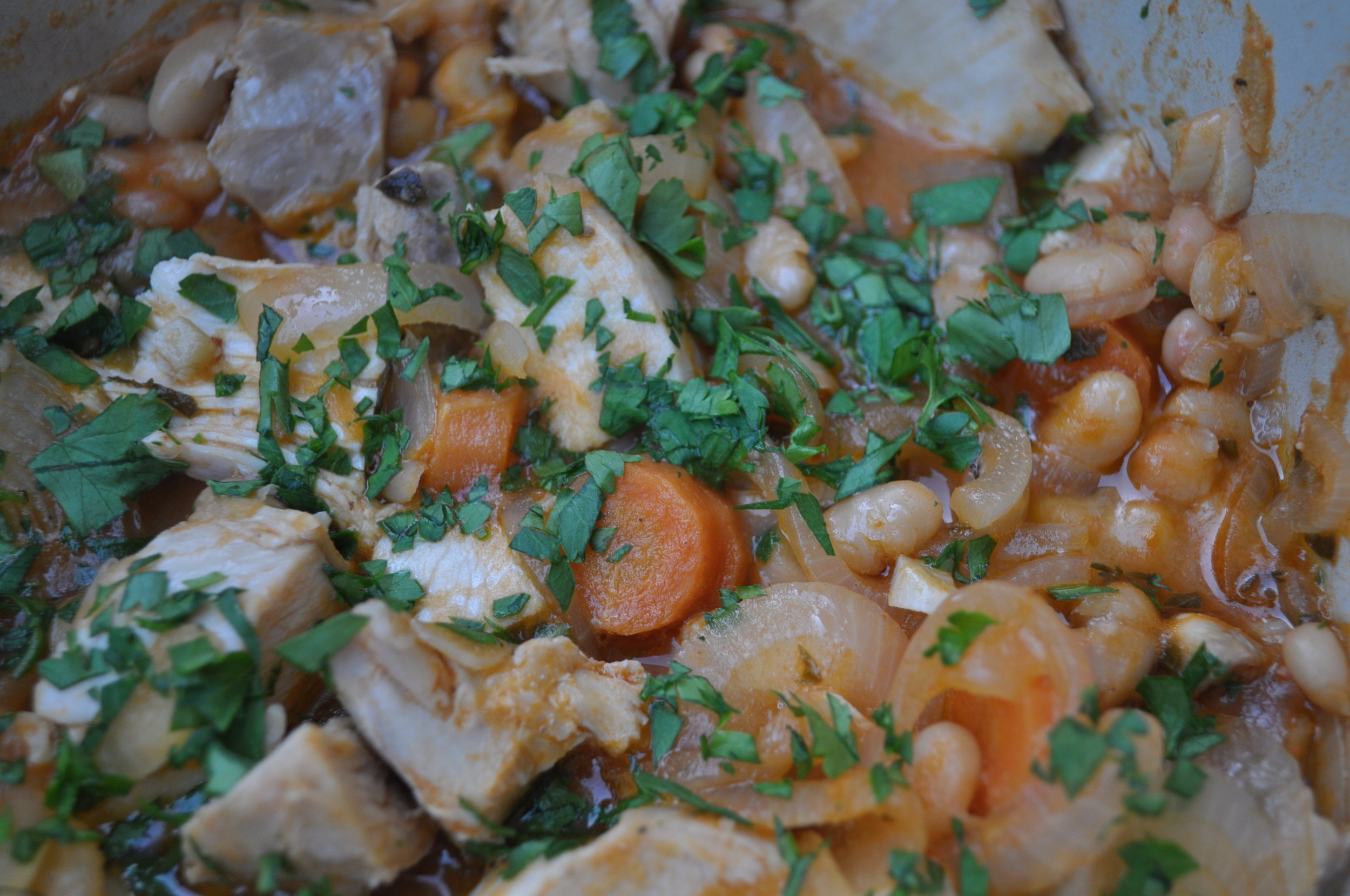 roasted chicken cassoulet