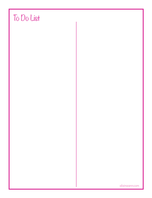 graphic relating to Free Printable Column Paper called Blank 2 Column Towards Do Listing :: Ready House Cost-free