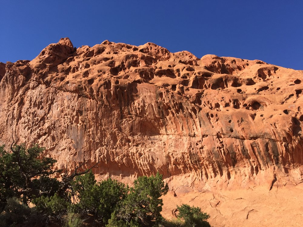 AUGUST, 2017 – CAPITOL REEF NATIONAL PARK: The bizarre nature of the rock formations can give you an other-worldly feeling as you walk through a landscape as silent as this desert.