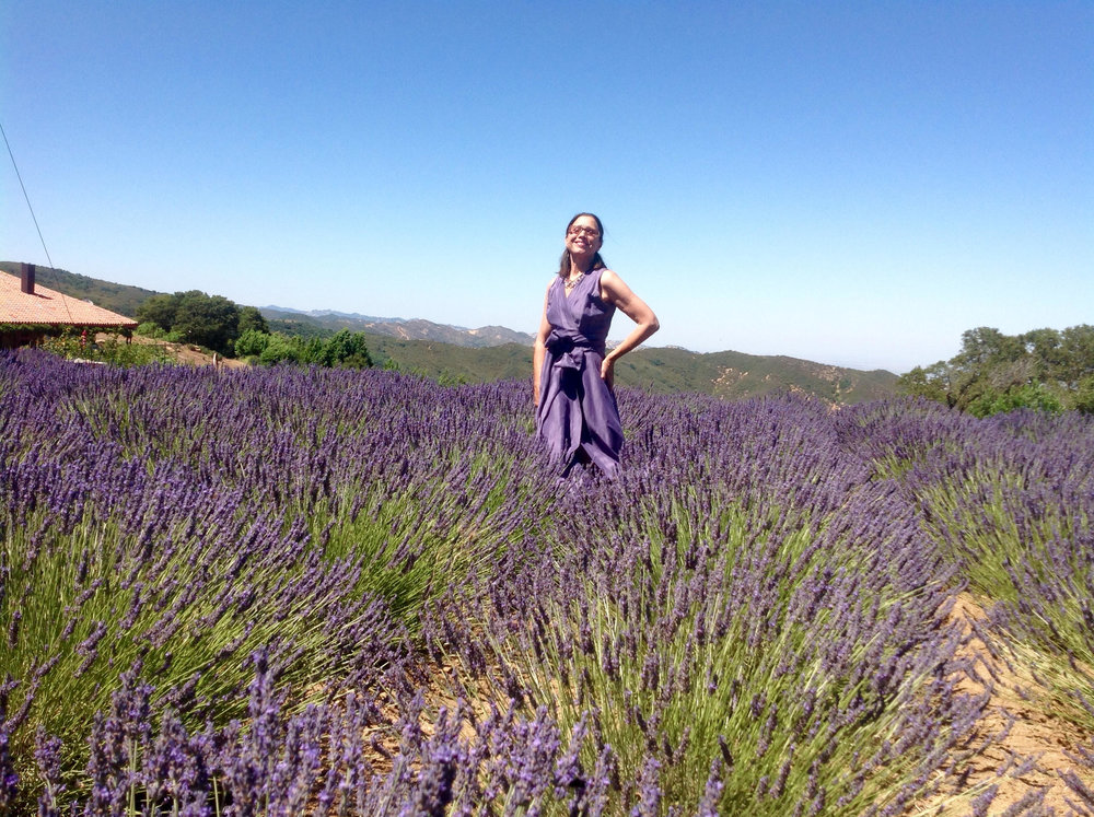 Denise Revel, founder of Girl On The Hill at home on the farm where they grow lavender and grapes.