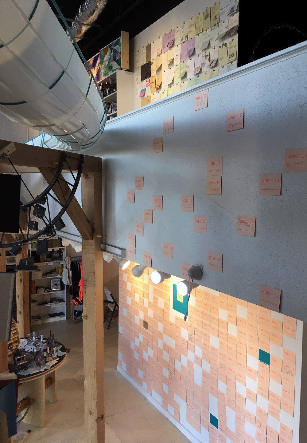 two floors of postcards