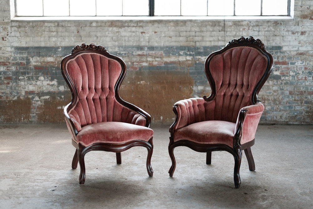 Ferdinand & Isabel - Sweetheart Chairs in Burgundy Velvet