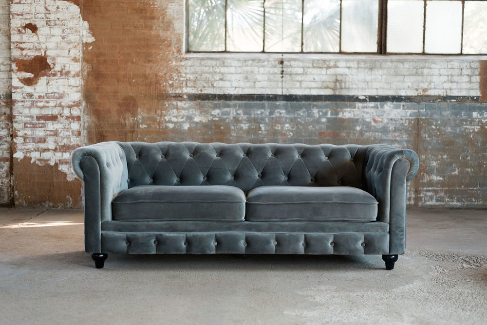 Greyson Chesterfield Sofa in Grey Tuft Velvet