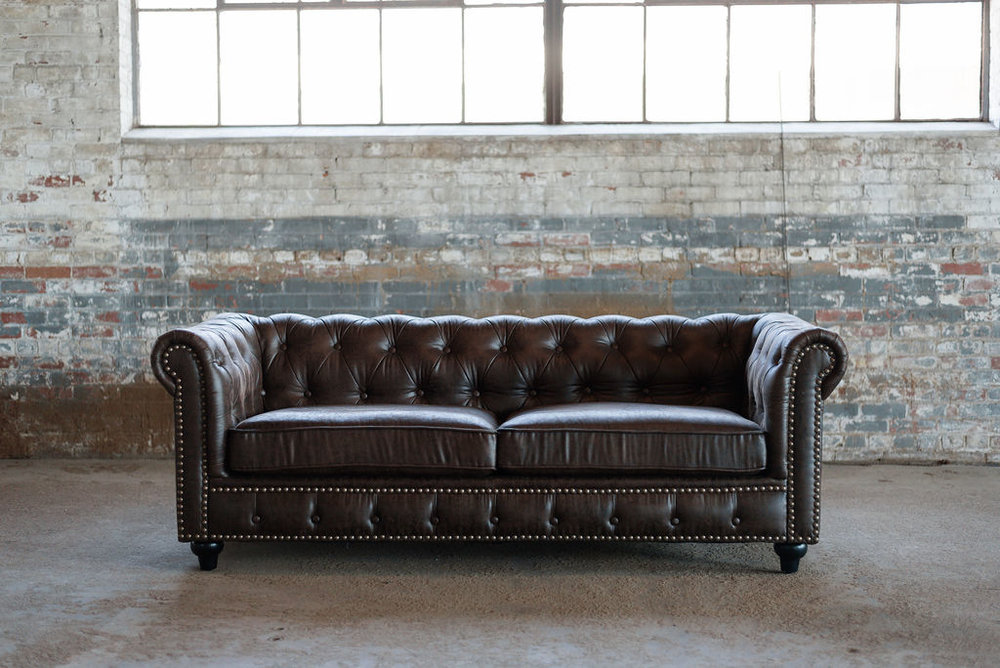 Hugh Chesterfield Sofa in Bown Leather