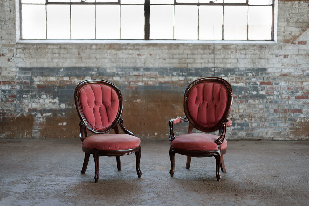 Napoleon + Josephine Sweetheart Chairs in Rose Velvet