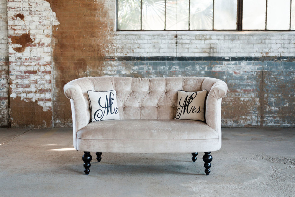 Nicole Loveseat in Cream Velvet
