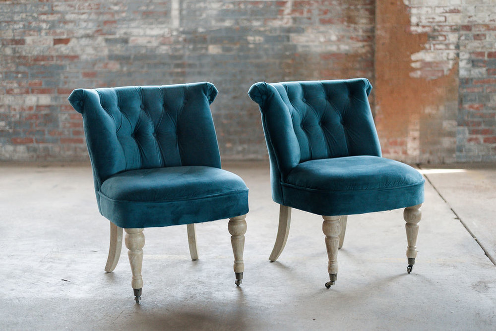 The Callies Chairs in Teal Velvet
