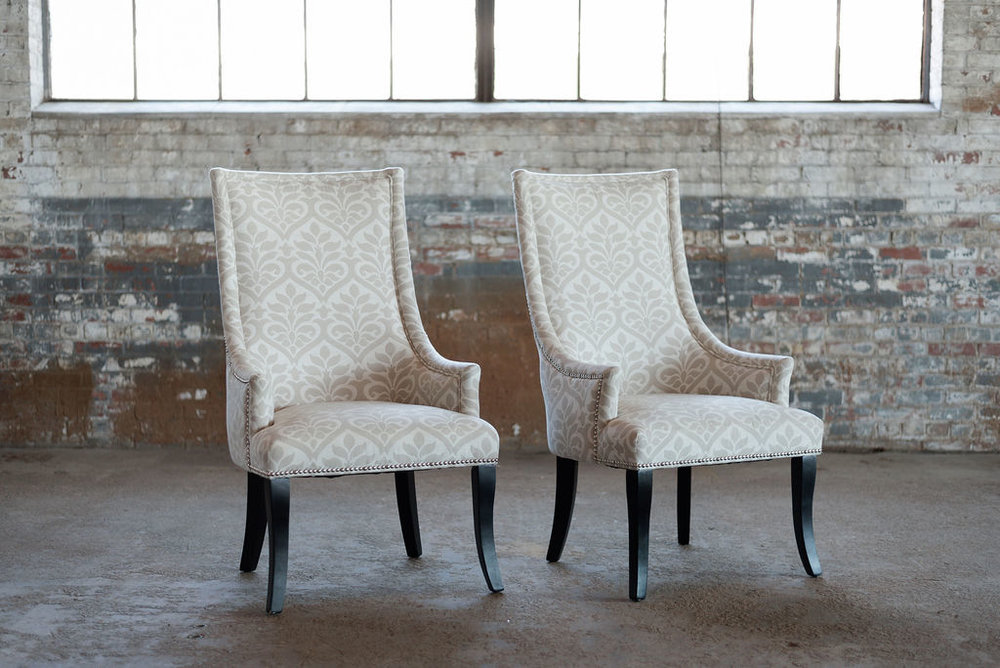 The Victorias - Upholstered Chairs in Ivory Damask