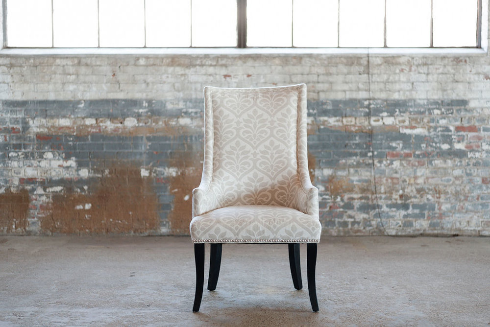 Victoria Chair in Ivory Damask