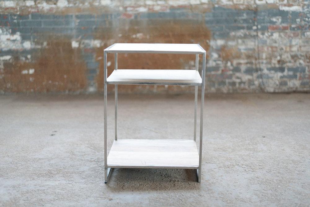 Hemingway End Table - Wood + Silver