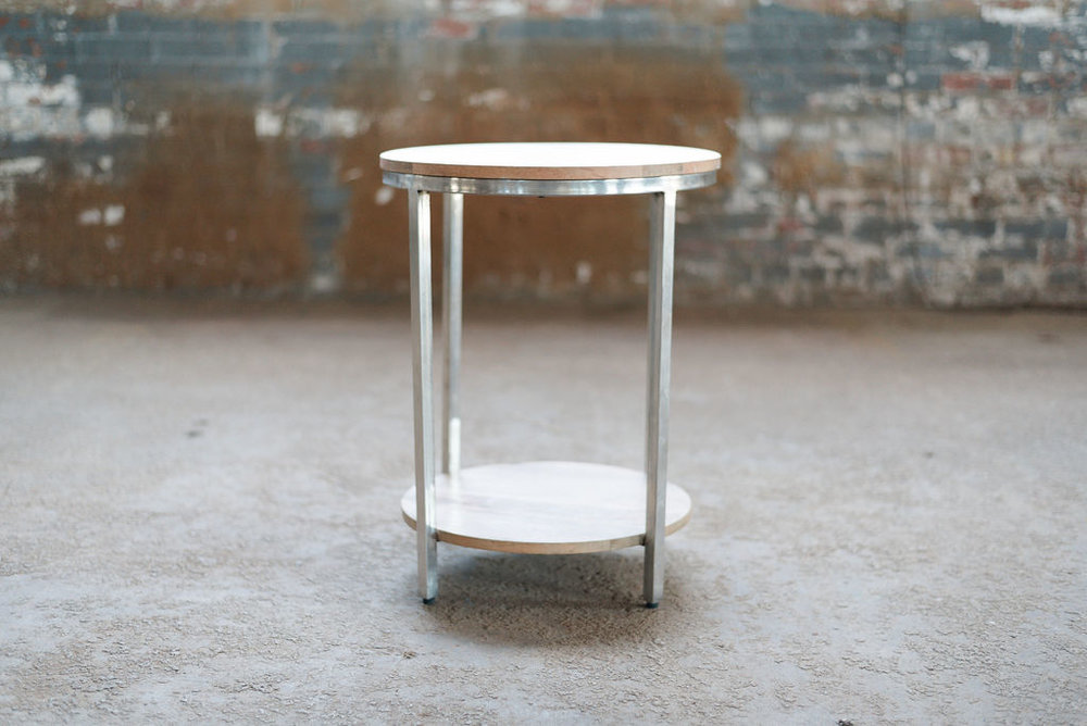 Hemingway End Table Round - Wood + Silver