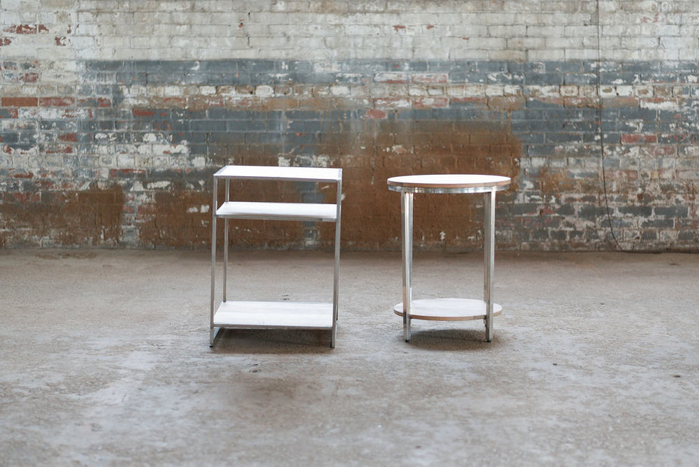 Hemingway End Tables - Wood + Silver.